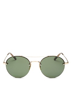 GARRETT LEIGHT - Men's Beaumont Brow Bar Rimless Round Sunglasses, 53mm